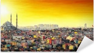 Pixerstick Sticker Istanbul Moskee met kleurrijke woonwijk in zonsondergang