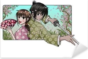 Japanese lady and proud samurai - sakura background Pixerstick Sticker