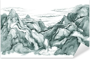 Japanese mountains Pixerstick Sticker