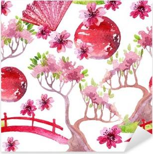 Japanese seamless pattern Pixerstick Sticker