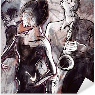 Pixerstick Sticker Jazz band met dansers