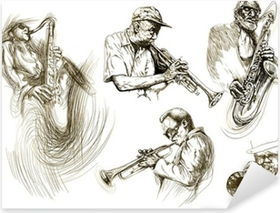 jazz men (hand drawing collection of sketches) Pixerstick Sticker