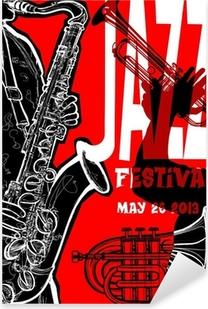 Jazz poster with saxophonist Pixerstick Sticker