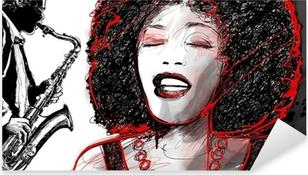 jazz singer and saxophone Pixerstick Sticker