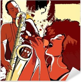Pixerstick Sticker Jazz-zangeres en saxofonist op grunge achtergrond
