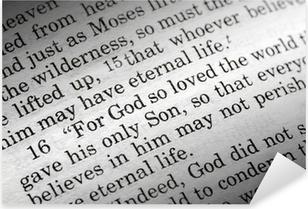 Sticker Pixerstick Jean 3:16 dans la Bible chrétienne, Dieu a tant aimé le monde ...