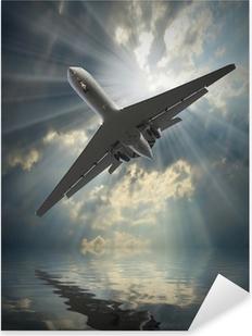 Pixerstick Sticker Jet passagiersvliegtuig in gevaarlijke situatie van een zee.