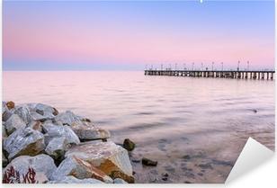 Sticker Pixerstick Jetée Baltique Gdynia Orlowo au coucher du soleil, la Pologne