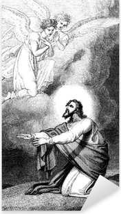 Pixerstick Sticker Jezus bidt op de Olijfberg