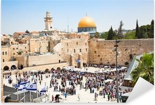 Pixerstick Sticker Joden bidden bij de Westelijke Muur in Jeruzalem, Israël