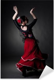 Pixerstick Sticker Jonge vrouw dansen flamenco op zwart