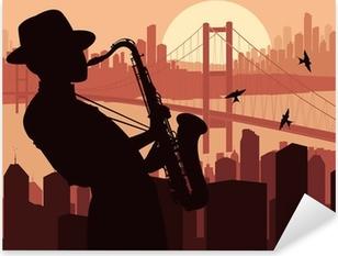 Sticker Pixerstick Joueur de saxophone illustration de fond