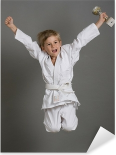 judo enfant kimono gagner victoire sport champion saut Pixerstick Sticker