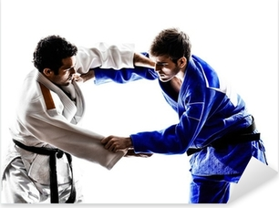 Pixerstick Sticker Judoka vechters vechtende mannen silhouet