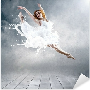 Jump of ballerina with dress of milk Pixerstick Sticker