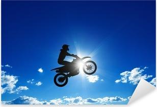 Jumping motorcycle rider Pixerstick Sticker