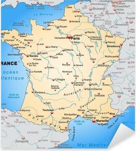 Pixerstick Sticker Kaart van Frankrijk met de buurlanden in oranje