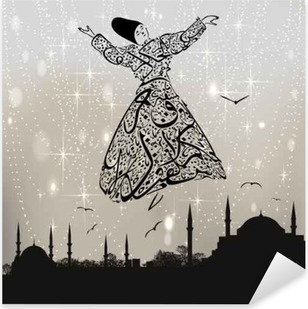 Pixerstick Sticker Kalligrafie derwisj en istanbul moskeeën