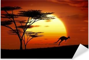 Sticker Pixerstick Kangourou coucher du soleil Australie