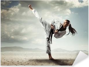 Karate girl kick Pixerstick Sticker