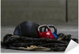 Pixerstick Sticker Kettlebells, touw en een geneesmiddel bal gebruikt voor crossfit