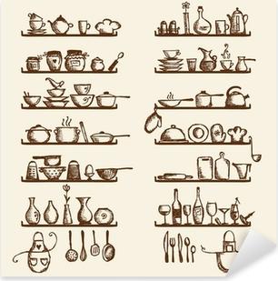 Pixerstick Sticker Keukengerei op planken, sketch tekening voor uw ontwerp