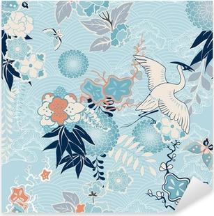 Sticker Pixerstick Kimono fond avec des grues et des fleurs