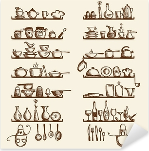 Kitchen utensils on shelves, sketch drawing for your design Pixerstick Sticker
