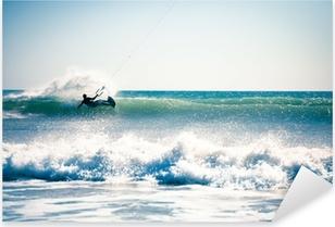 Pixerstick Sticker Kite surfen in de golven.