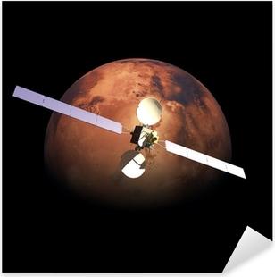 Pixerstick Sticker Kunstmatige Probe baan om bovenstaande Rode Planeet Mars
