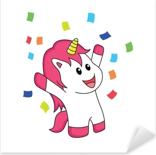 Sticker Pixerstick La licorne fête le bonheur