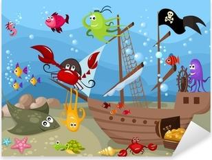 Sticker Pixerstick La vie marine