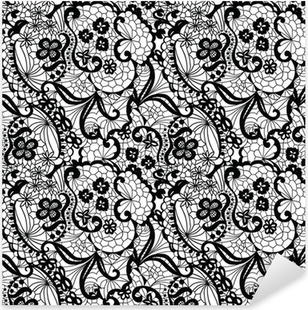 Lace black seamless pattern with flowers on white background Pixerstick Sticker