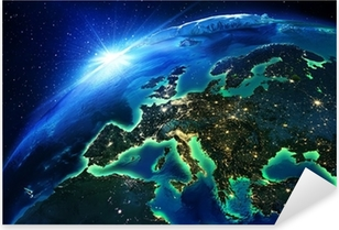 land area in Europe the night Pixerstick Sticker