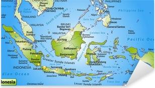 Landkarte von Indonesien mit Hauptstädten und Nachbarländern Pixerstick Sticker