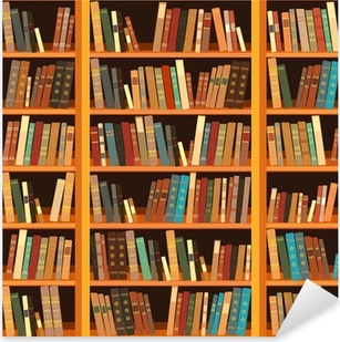 Large bookcase with different books Pixerstick Sticker