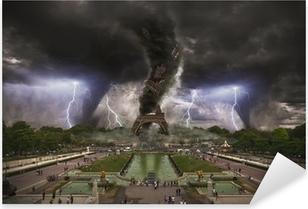 Large Tornado over Eiffel Tower Paris Pixerstick Sticker