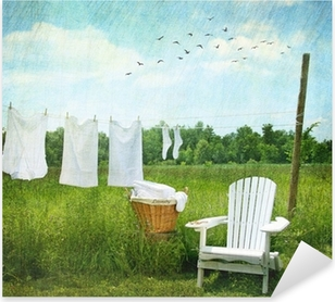 Laundry drying on clothesline Pixerstick Sticker