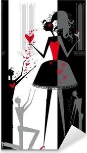Sticker Pixerstick Le jeu de l'amour dans le théâtre d'ombres.