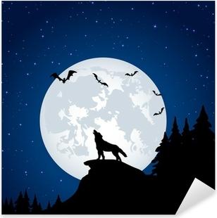 Sticker Pixerstick Le loup et la lune