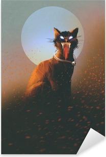 Sticker Pixerstick Le mal chat sur un fond de la lune, morts-vivants, le concept d'horreur, illustration