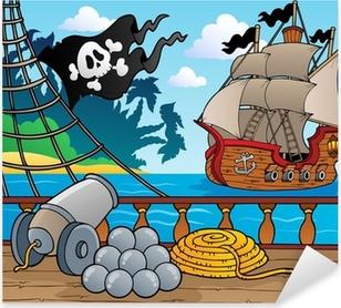 Sticker Pixerstick Le thème des pirates pont navire 4