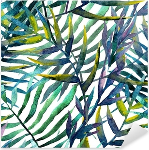 Leaves abstract pattern in watercolor Pixerstick Sticker