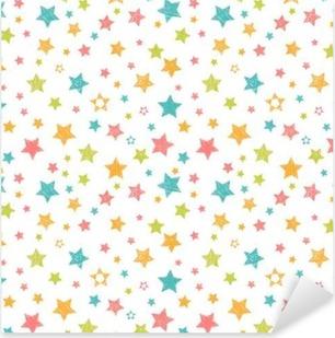 Pixerstick Sticker Leuk naadloos patroon met sterren. Stijlvolle druk met de hand getekende