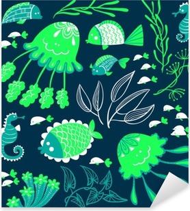 Pixerstick Sticker Leuke cartoon die met vissen, kwallen en zeepaardjes