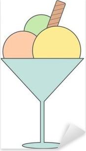 Pixerstick Sticker Leuke cartoon ice cream cup vector illustratie geïsoleerd op wit background____