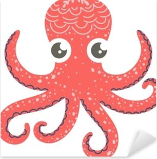 Pixerstick Sticker Leuke illustratie van octopus voor kinderdagverblijfdecor, drukken en affiches, de illustratie van de krabbelstijl. vector