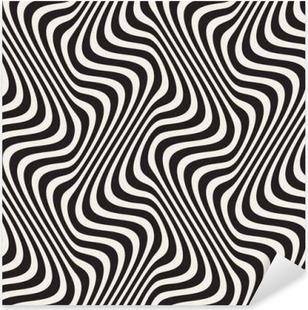 Sticker Pixerstick Lignes onduleuses Illusion optique. Vector Seamless Modèle noir et blanc.