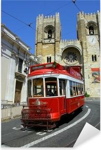 Sticker Pixerstick Lisbon tram rouge