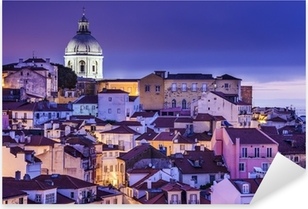 Pixerstick Sticker Lissabon, Portugal Horizon bij Alfama